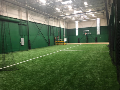Indoor batting cage area at Athletic Training Center